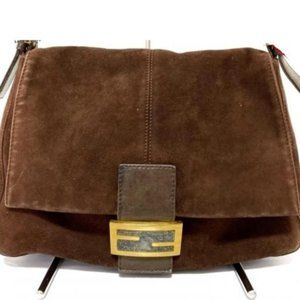 Fendi Forever Mama Brown Suede Flap Logo FF 239753